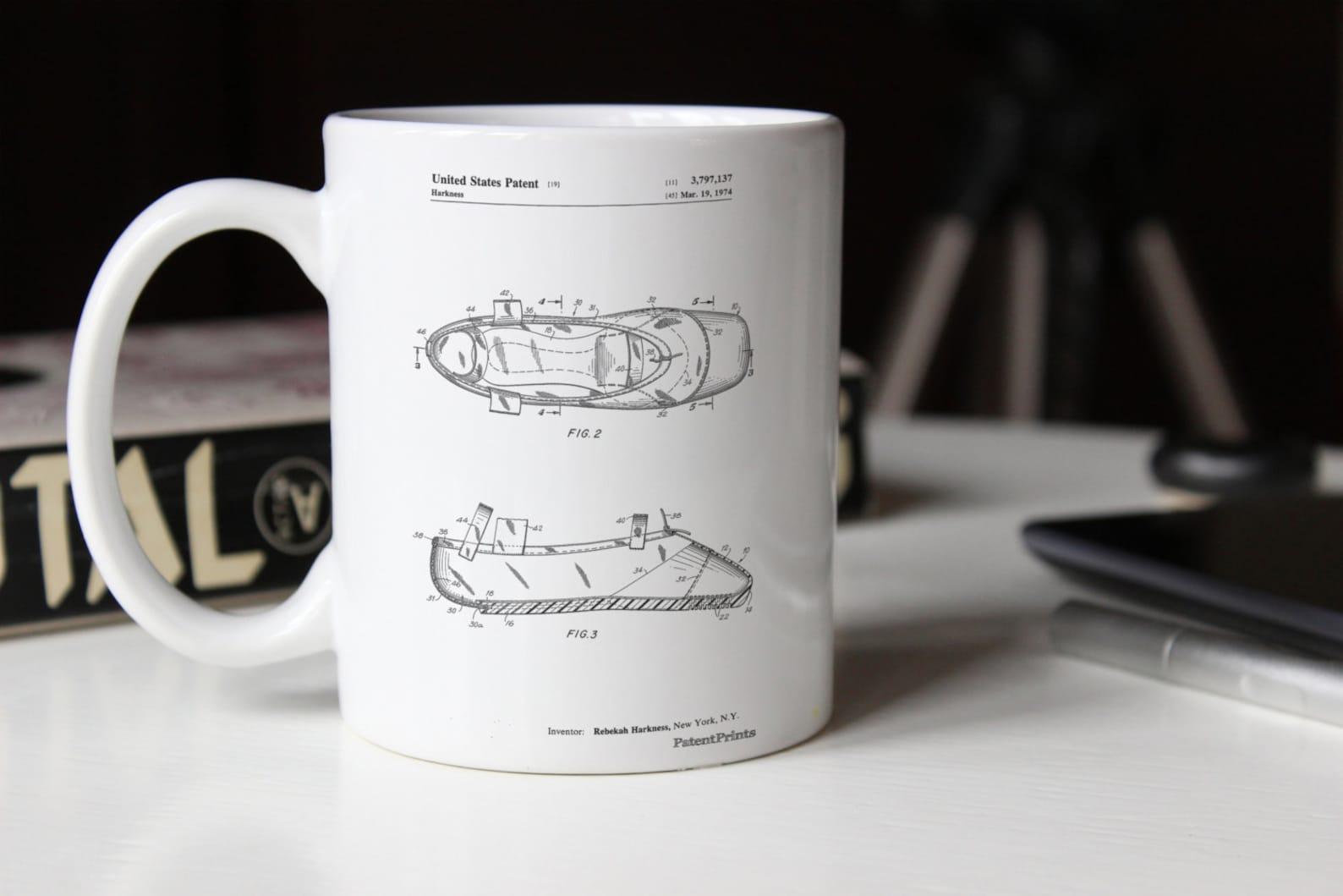 ballet slipper patent mug, ballerina gift, dance studio, ballet shoe, ballerina mugwork, pp0267