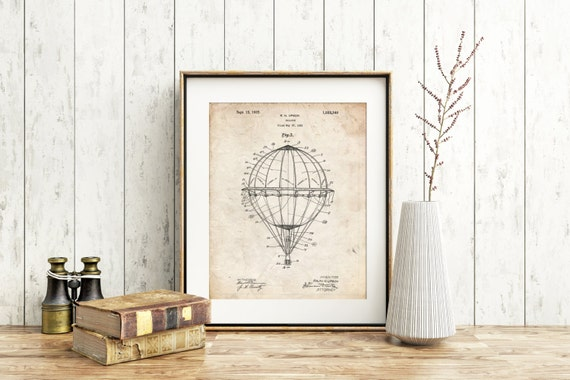 Hot Air Balloon 1923 Patent Poster