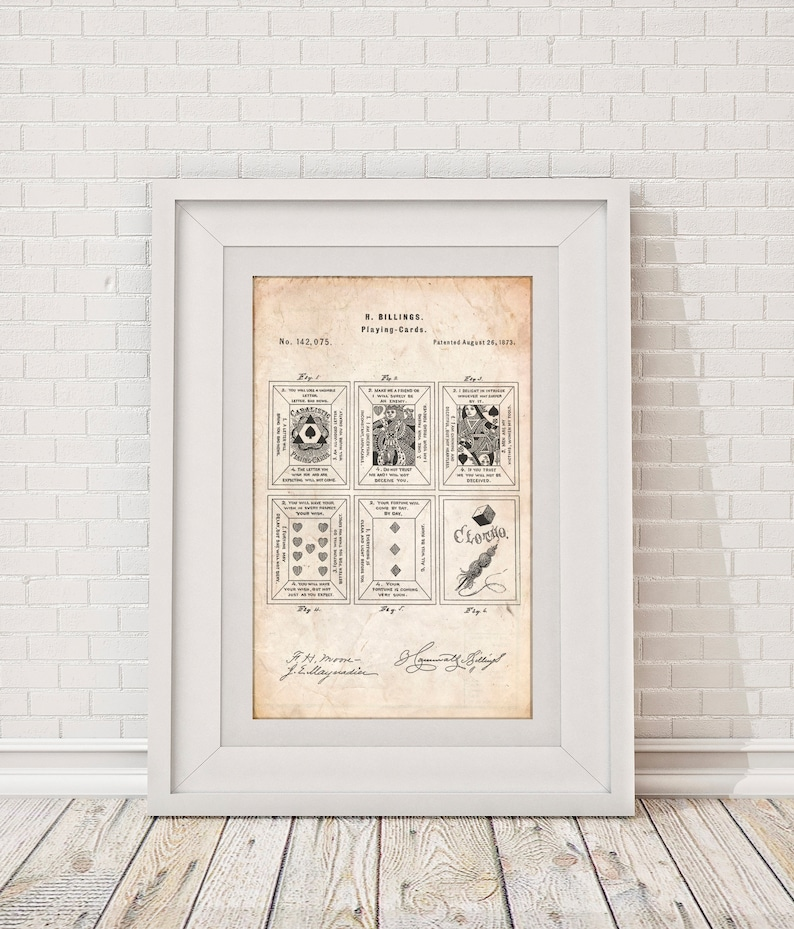 Fortune Telling Cards Patent Poster Game Room Wall Decor Etsy