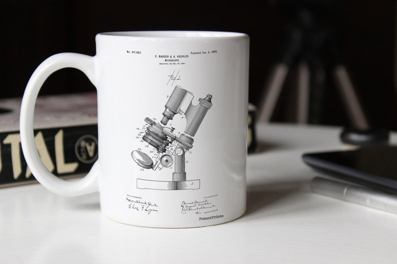 Mikroskop patent kubek biologia prezent nauczyciela student etsy