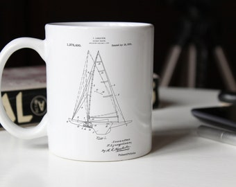 Sailboat Rigging Patent Mug, Sailboat Mug, Beach House Decor, Sailing Mug, Vacation House, Sailor Gift, PP0942