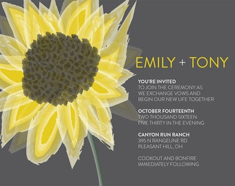 Custom Sunflower Wedding Invitations