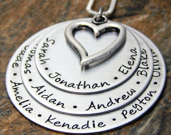 Personalized Gift for Grandma, Grandmother's Necklace, Family Name Necklace, Hand Stamped, Mother's Gift for Her, Birthday Gift for Mom