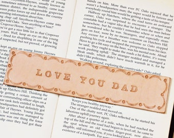 Love You Dad Tooled Leather Bookmark, Birthday Gift For Dad, Gift For Him, Handmade Bookmark, Book Lover Gift, Unique Bookmarks For Books