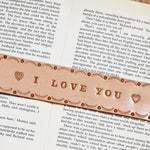 I Love You Leather Bookmark, Handmade I Love You Gift, Couple Gifts, Leather Anniversary, Boyfriend Gift, 3rd Anniversary Gift Husband Gift
