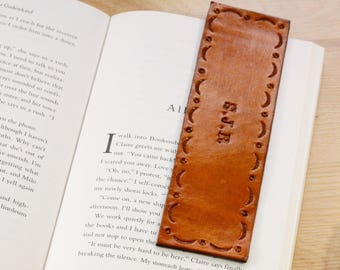 Personalized Leather Bookmark, Name Bookmark, 9th or 3rd Leather Anniversary Gift For Husband, Initials Monogrammed Custom Wedding Day Gift