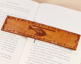 Airplane Hand Carved Leather Bookmark Birthday Gift For Dad Etsy