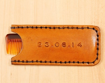 Special Date Comb Case, Leather Comb Case, Personalized Leather Anniversary Gift For Husband, Custom Wedding Day Gift For Him, Couples Gift