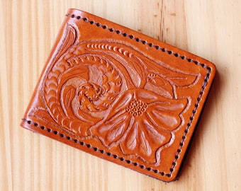 One Of A Kind Hand Carved Leather Wallet, Hand Tooled Leather Wallet, Mens Leather Wallet, Dad Gift, 3rd Leather Anniversary, Husband Gift
