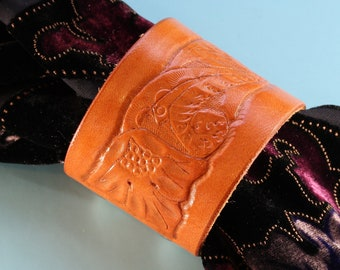 Hand Carved Leather Bracelet, Floral Hippie Chic Leather Scarf Cuff Shawl Cuff, Hand Tooled Leather Bracelet, 3rd Leather Anniversary Gift