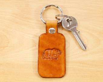 Bear Keychain, Leather Keychain, Leather Anniversary, Key Fob, Bear Gift For Dad Gift Leather Key Fob, Husband Gift For Men Leather Keyring