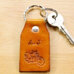Personalized Motorcycle Leather Keychain, Initial Leather Key Fob, Handmade Leather Anniversary Husband Gift, Monogrammed Motorbike Keyring,