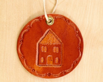House Hand Carved Leather Wall Hanging, New Home Wall Decor, Leather Anniversary, First Home Gift, Leather Door Hanger, Housewarming Gift