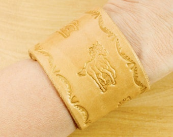 Hand Tooled Leather Cuff Bracelet, Horse Bracelet, Mens Leather Bracelet, Leather Anniversary, Leather Jewelry, 3rd Anniversary Gift