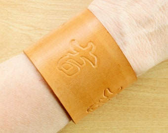 Mens Leather Bracelet, Chinese Good Luck Leather Cuff Bracelet, Leather Jewelry, Leather Wristband, Leather Anniversary 3rd Anniversary Gift
