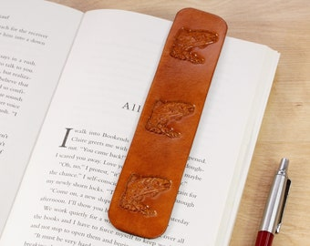 Leather Bookmark, Trout Fish Book Mark, Handmade Birthday Day Gift For Dad, Fishing Gift, 3rd Leather Anniversary Gift for Husband, Dad Gift