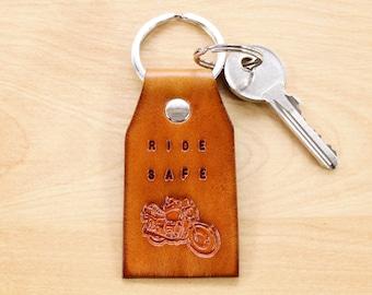 Ride Safe Keychain, Motorcycle Keychain, Leather Keychain Gift For Boyfriend, Motorbike Keyring, Gift For Dad, Travel Safe Leather Key Fob