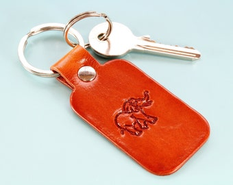 Elephant Keychain Leather Keychain, Elephant Keyring Handmade Leather Keyring Gift For Dad, 3rd Leather Anniversary Gift Leather Key Fob