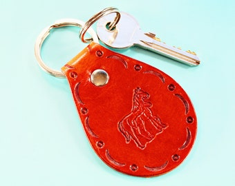 Horse Keychain Leather Keychain, Mare And Foal Horse Gift Handmade Key Ring, Sister Gift Leather Key Fob, Horse Keyring Leather Keyring