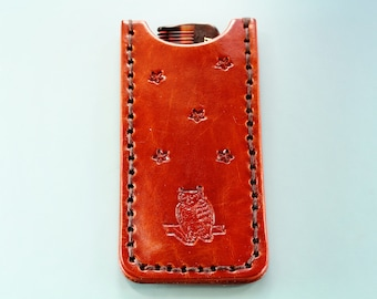 Owl Comb Case, Leather Gifts For Girlfriend, Handmade Gift For Dad, 3rd Anniversary Gift For Husband, Gift For Friend, Owl Gift For Her