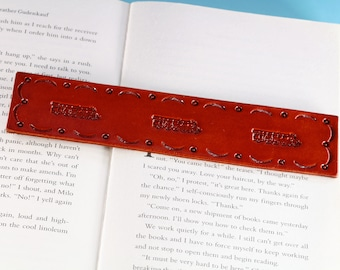 Train Leather Bookmark Train Bookmark, Handmade Bookmark, Gift For Dad, 3rd Leather Anniversary Gift, Book Lover Gift, Husband Gift