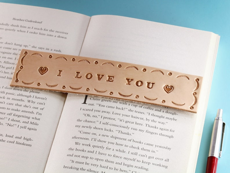 I Love You Leather Bookmark Handmade Romantic Gift I Love image 0