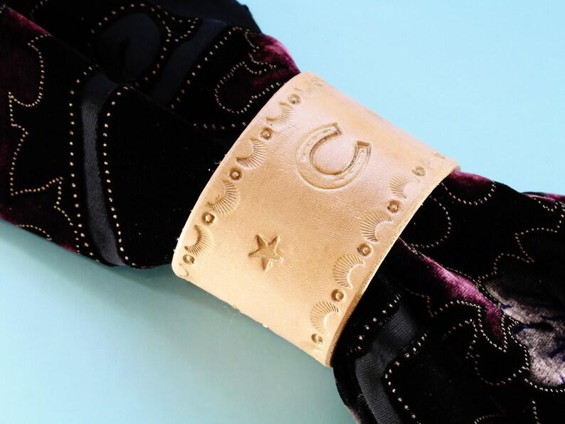 Horseshoe Leather Cuff Bracelet Hand Tooled Leather Bracelet image 0