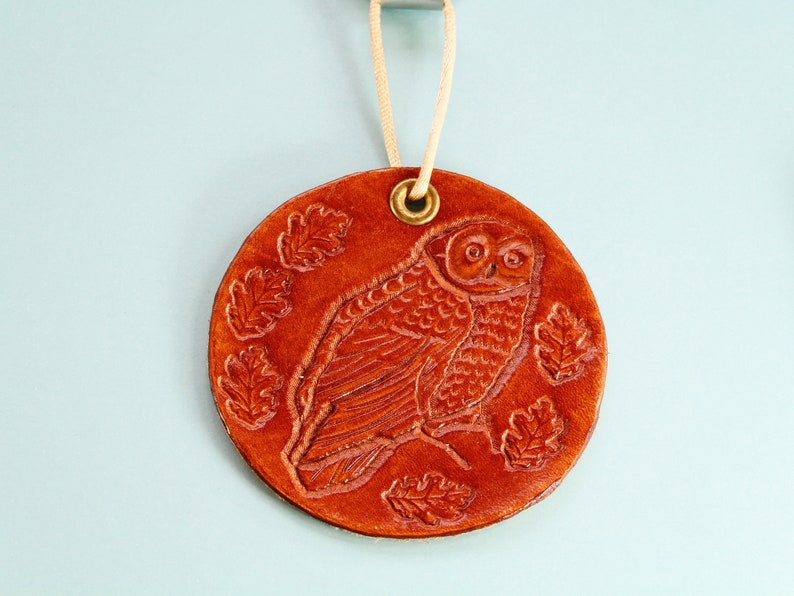 Owl Hand Carved Leather Wall Hanging Owl Wall Hanging image 0