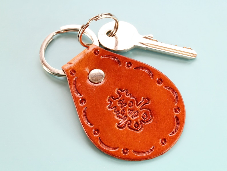 Happiness Keychain Handmade Leather Keychain Chinese image 0