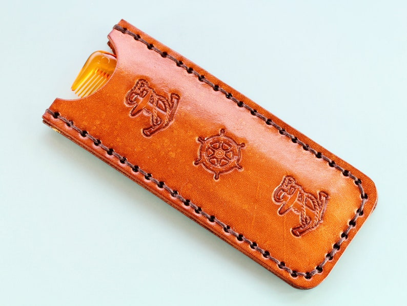 Anchor Comb Case Leather Comb Case Handmade Christmas Gift image 0