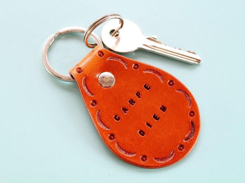 Carpe Diem Keychain Handmade Leather Keychain Inspirational image 0