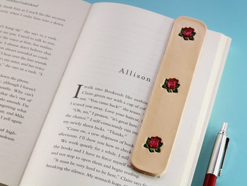 Leather Bookmark  Premium Quality Hand Stamped and Hand Light Beige