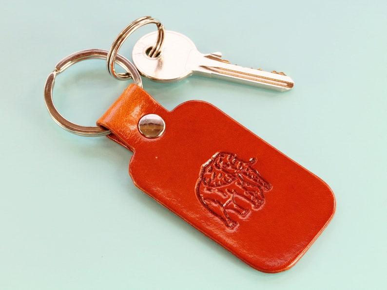 Elephant Keyring Handmade Leather Keychain Birthday Gift For image 0
