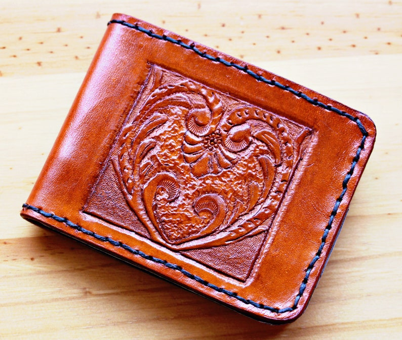 Hand Carved Leather Wallet Art Deco Wallet Birthday Gift For image 0