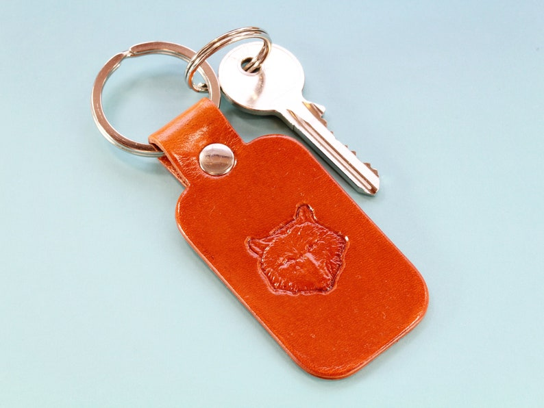 Wolf Keychain Handmade Leather Keychain Wolf Keyring 3rd image 0