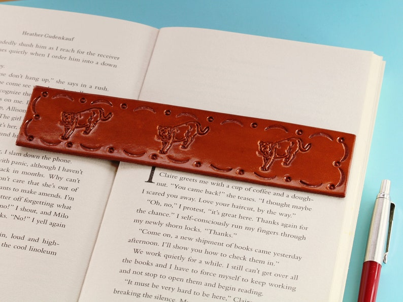 Lion Bookmark Handmade Leather Bookmark Lioness Bookmark image 0