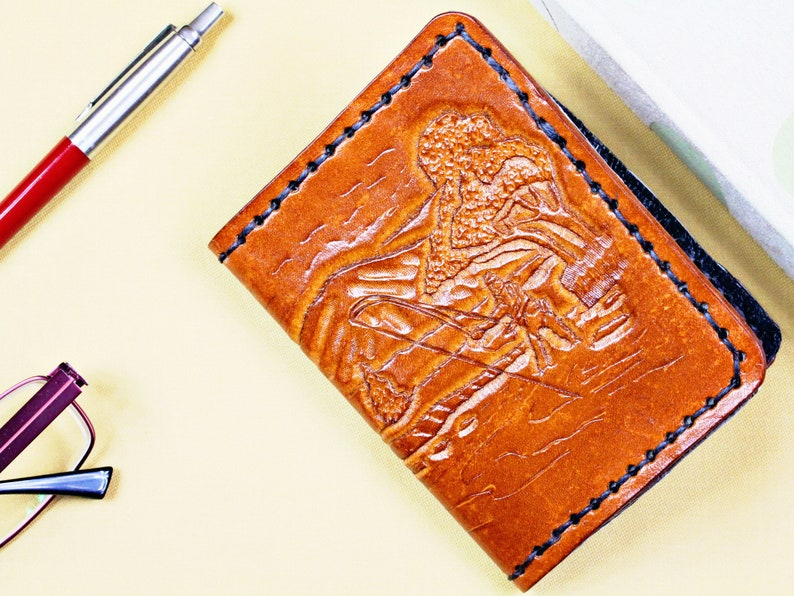 Fisherman Hand Carved Leather Wallet Billfold Birthday Gift image 0
