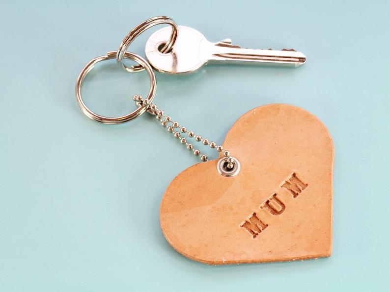 Mum Leather Keychain Handmade Mum Keychain Heart Keychain image 0