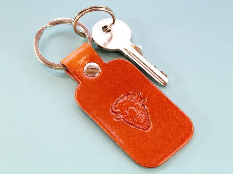 Buffalo Keychain Handmade Leather Keychain Buffalo Keyring image 0