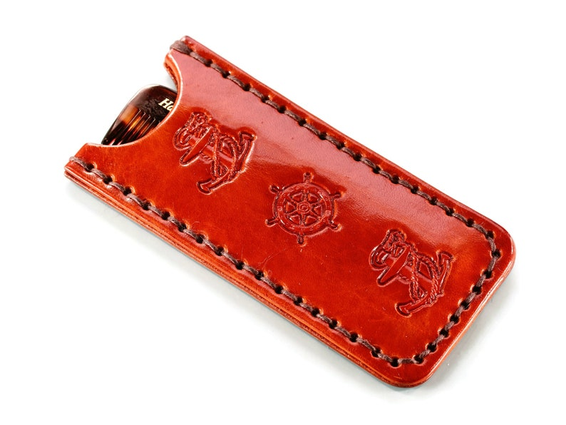 Leather Comb Case  Premium Quality Hand Stamped Nautical image 0