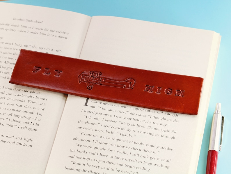 Fly High Bookmark Hand Carved Leather Bookmark Tiger Moth image 0