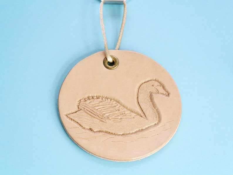 Swan Hand Carved Leather Wall Hanging Handmade Gift For Mom image 0