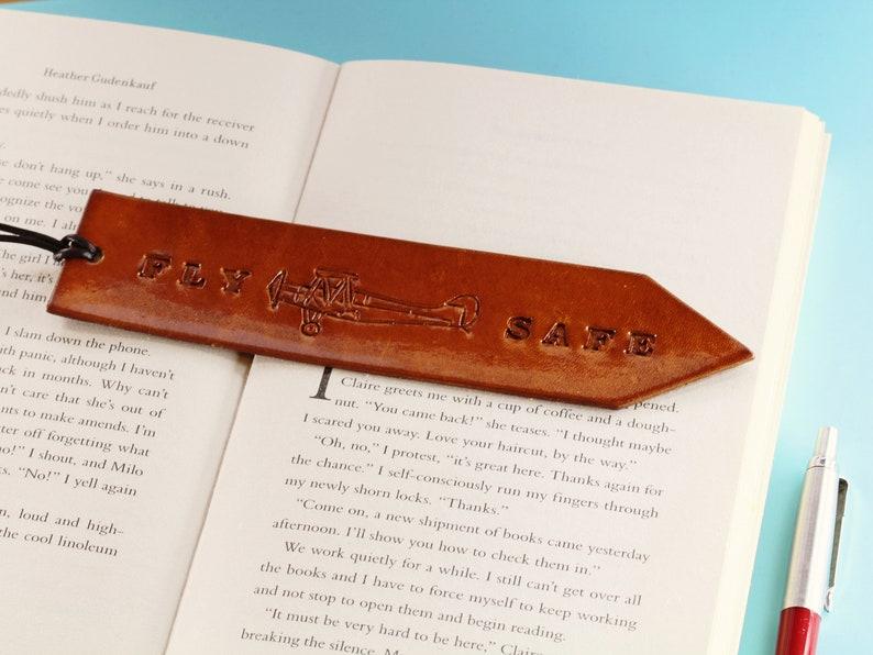 Fly Safe Leather Bookmark Handmade Bookmark Husband Gift For image 0