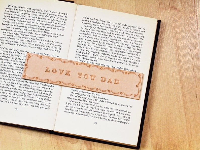 Love You Dad Tooled Leather Bookmark Birthday Gift For