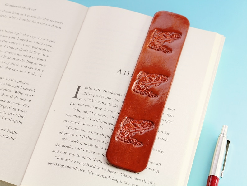 Trout Fish Book Mark Leather Bookmark Handmade Birthday Gift image 0