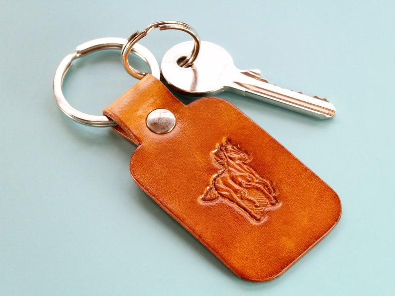 Horse Key Chain Leather Keychain Horse Keyring Handmade image 0