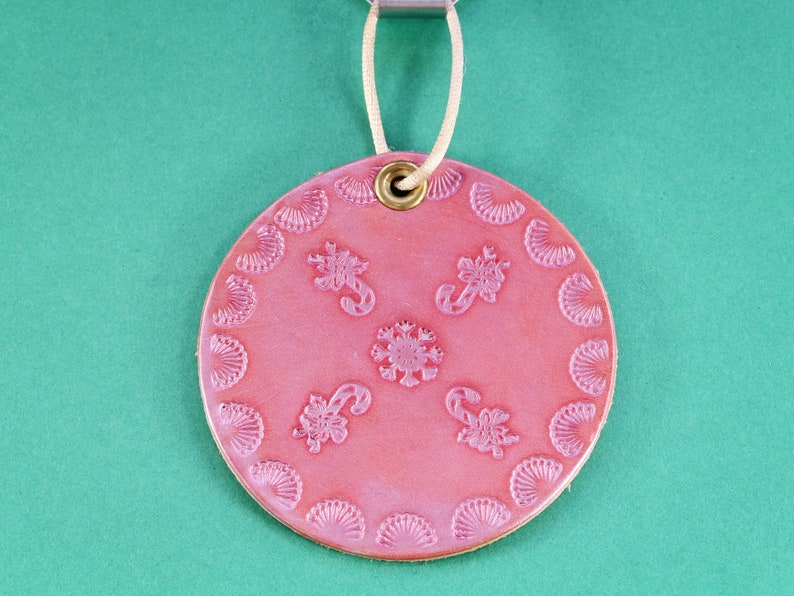 Candy Cane Door Hanger Handmade Leather Wall Hanging Sugar image 0