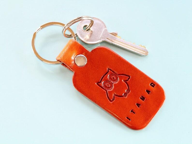 Personalised Leather Keychain Name Keychain Owl Keychain image 0