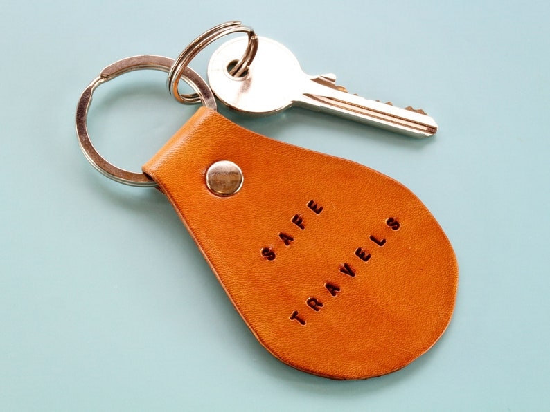 Safe Travels Keyring Handmade Leather Vacation Going Away image 0