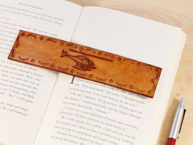 Helicopter Bookmark Hand Carved Leather Handmade